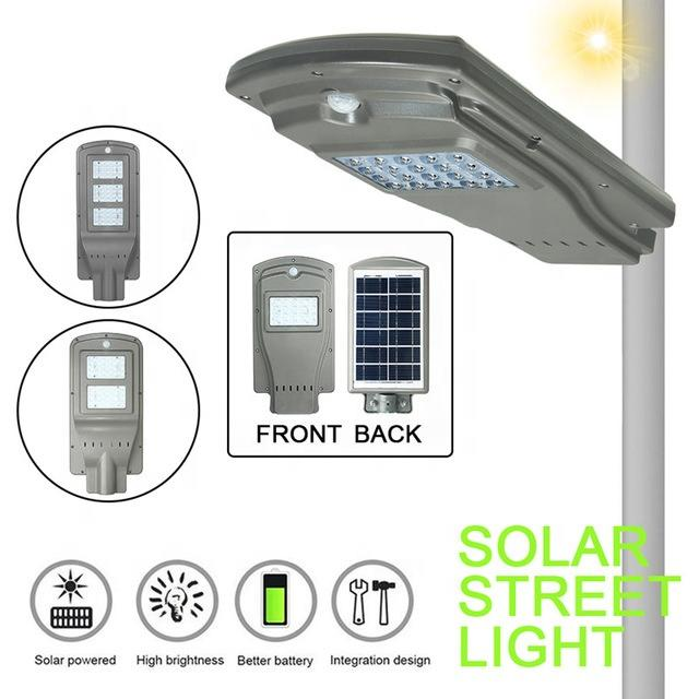 ABS All in One 20/40/60W Light&Radar PIR Sensor Light Control solar Street Light