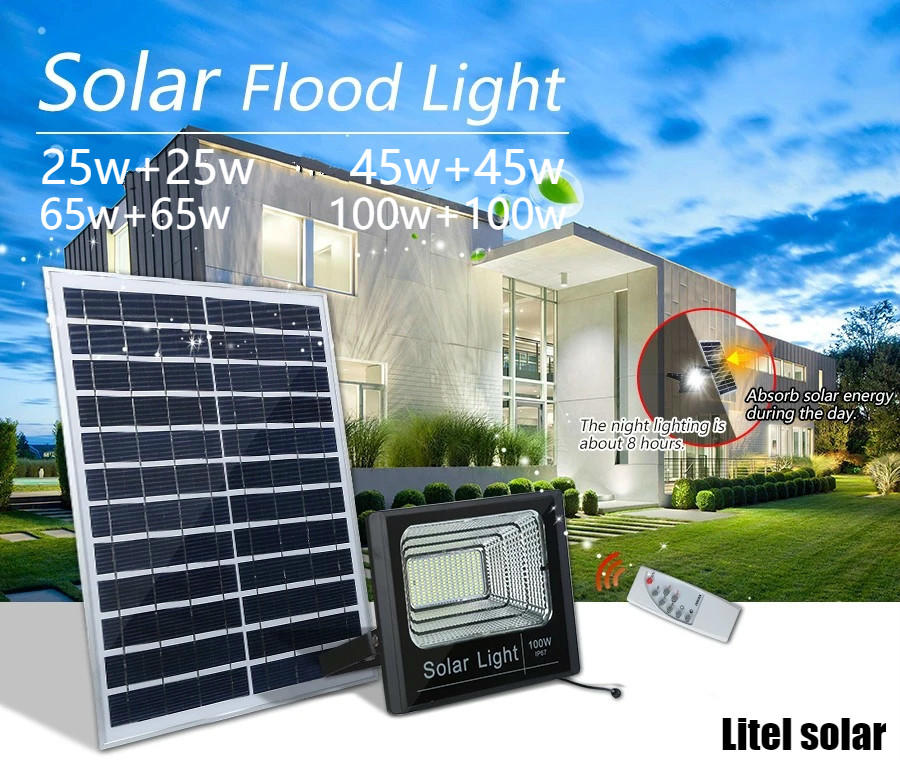 IP67 100lm/w Aluminum Alloy Remote-controlled timer switch 1 driving 2 solar flood light