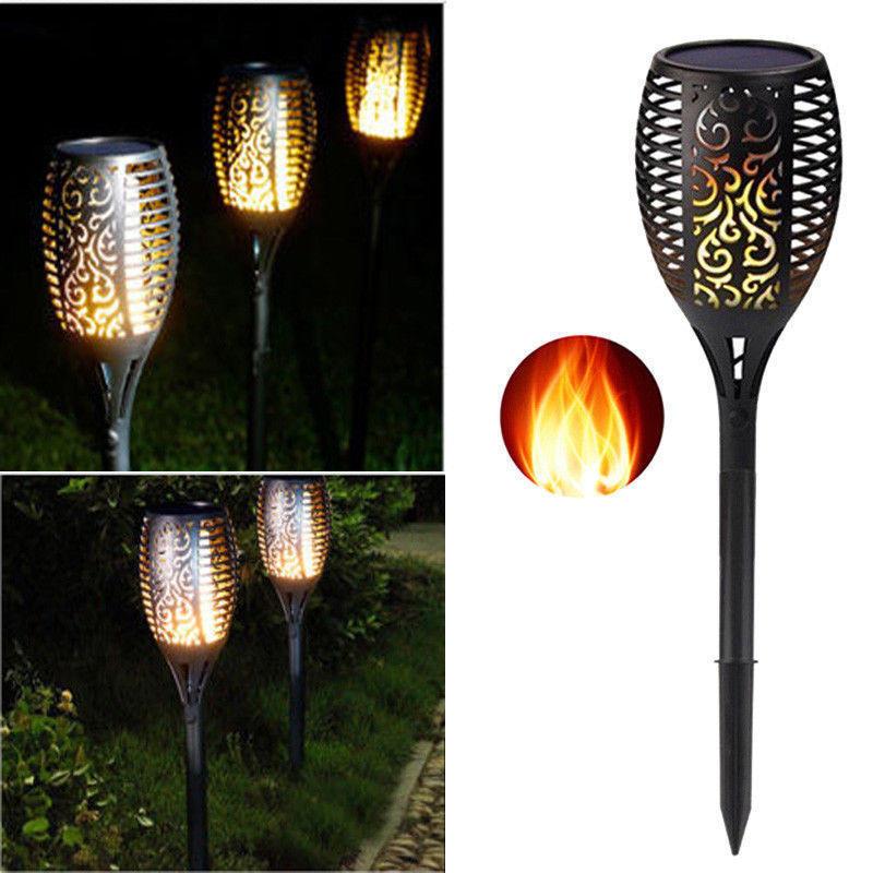 96 LED Solar Power Torch Light Flickering Flame Garden Waterproof Yard Lamp