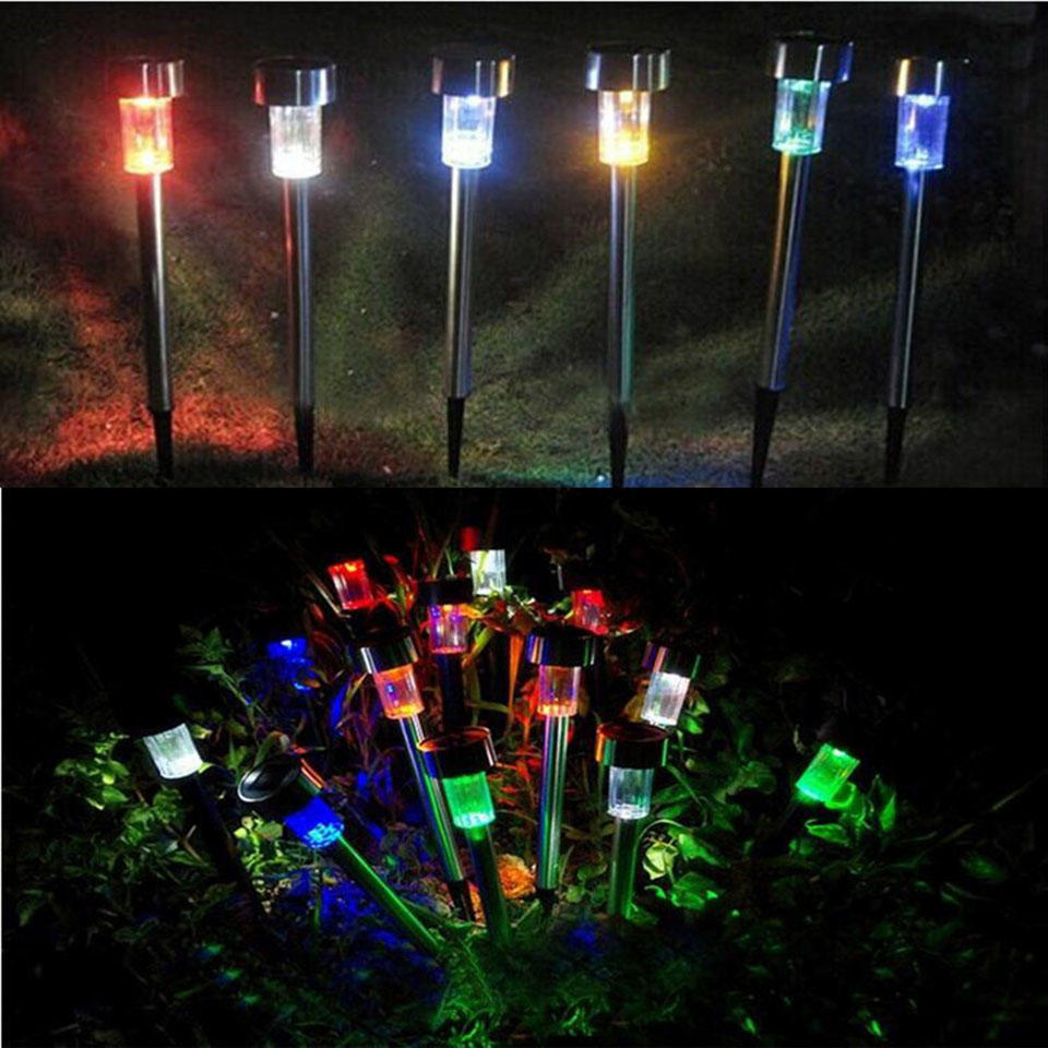 smart yard led solar pathway lights stainless outdoor garden lawn light
