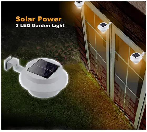 3 led solar powered fence garden wall light
