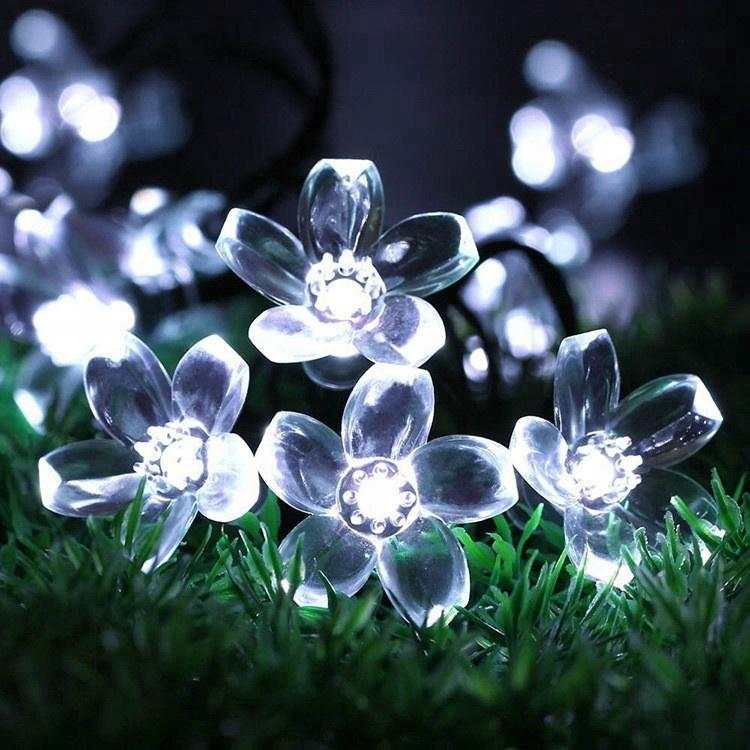 Christmas day outdoor waterproof light flower string LED solar holiday decorative garden light