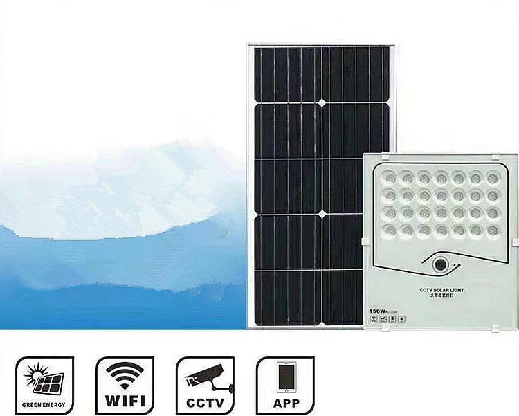WIFI App Control CCTV solar flood light camera 150w