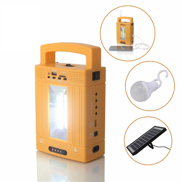 solar power light 10W Mini Solar Lighting system kits with radio FM and MP3 Mobile charger