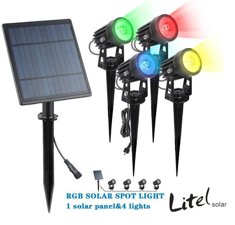 IP65 4 Head Solar Power Outdoor landscape spike led solar spotlight