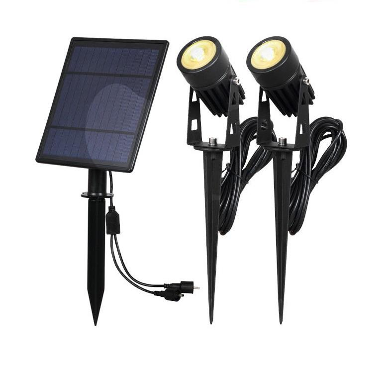 IP65 4 Head Solar Power Outdoor landscape spike led solar spotlight