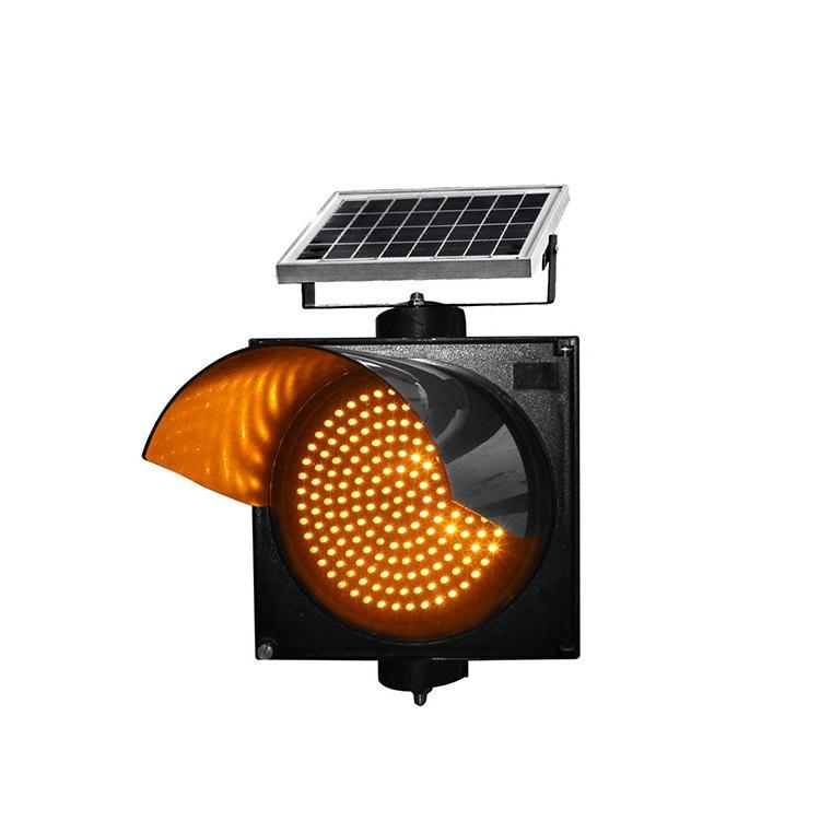 300mm 400mm  yellow LED  solar powered warning flashing traffic light