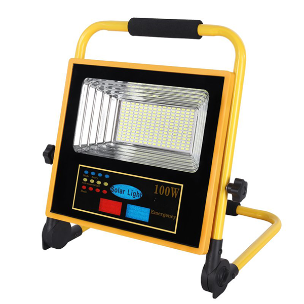 Portable Foldable Rechargeable Emergency all in one solar flood light with warning light and bluetooth speaker