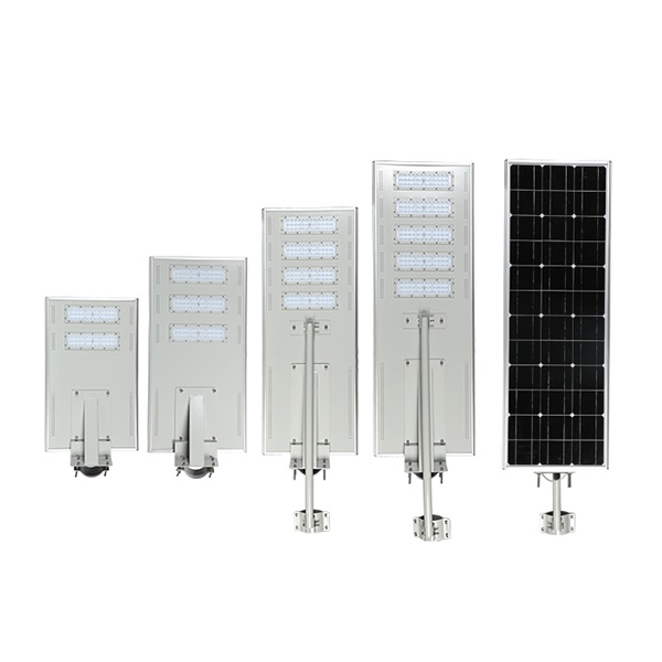 High lumen IP65 25/30/40/50/60/70/80/100/120/150W aluminum housing PWM all in one solar street light