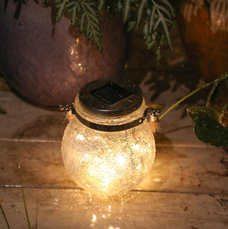 30Leds Solar Mason Jar Light String Glass Lantern Outdoor Decorative String Light
