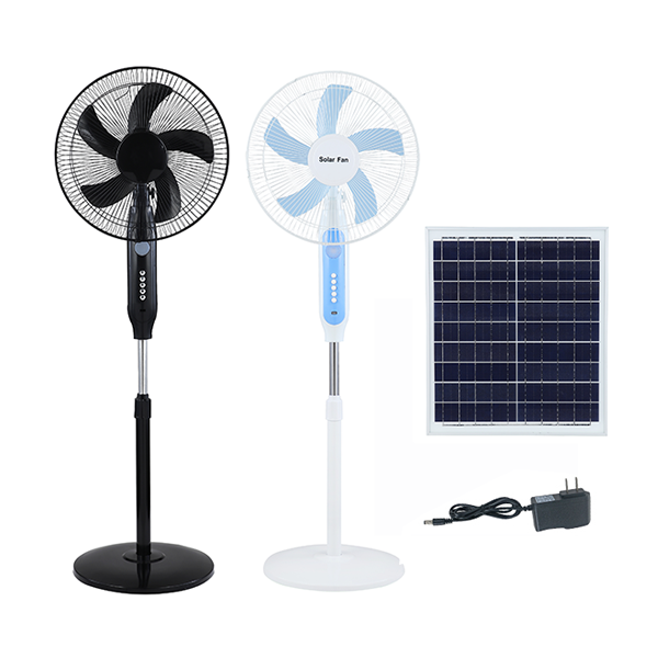 12V solar power stand fan 3 speed 16 inch rechargeable fan