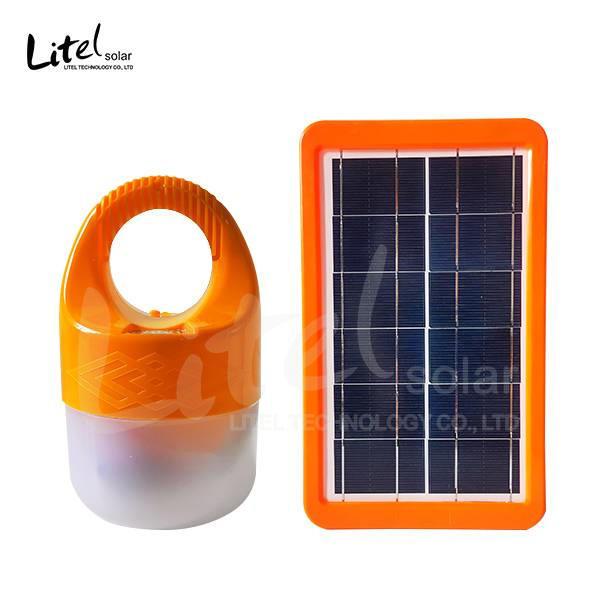 Indoor Solar LED bulb  white& orange double colors rechargeable portable Solar Emergency Bulb