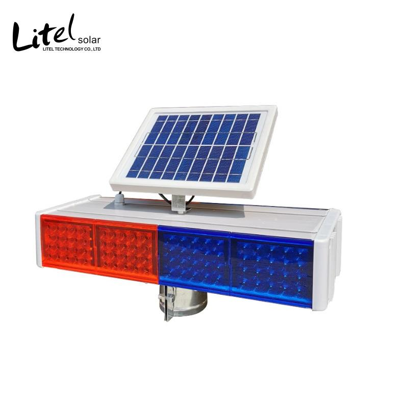 Outdoor Solar Traffic Warning Light LED Highway Signal Light Red Blue